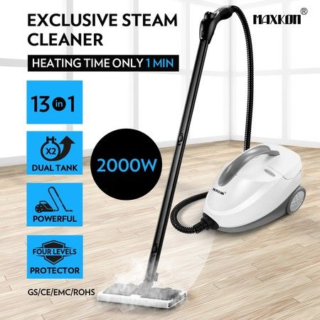 Maxkon 2.1L High Pressure Carpet Floor Window Steam Cleaner Mop White