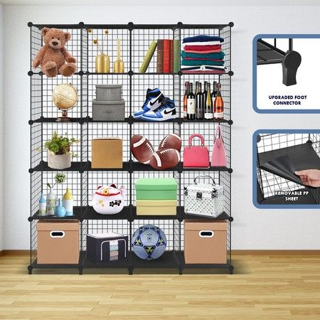 Metal Wire Cube Storage DIY 20 Cubes Modular Storage Shelf Closet Black
