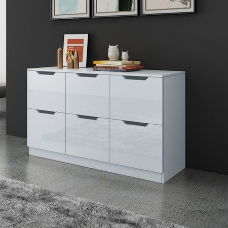 Modern Wooden Chest of Drawers Bedroom 6 Drawers Storage High Gloss Front White