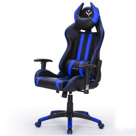 OVERDRIVE Diablo Reclining Gaming Chair Black & Blue Computer Lumbar Office Horns
