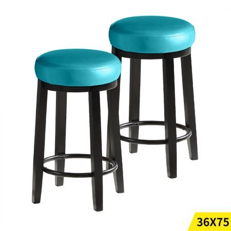 2x Levede 75cm Swivel Bar Stool Kitchen Stool Wood Barstools Dining Deep Sea
