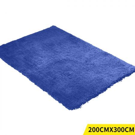 Ultra Soft Anti Slip Rectangle Plush Shaggy Floor Rug Carpet in Blue 200x300cm