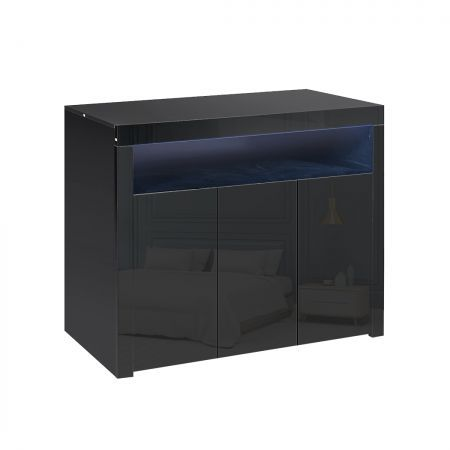 Levede Buffet Sideboard Cabinet Storage Modern High Gloss Furniture Black