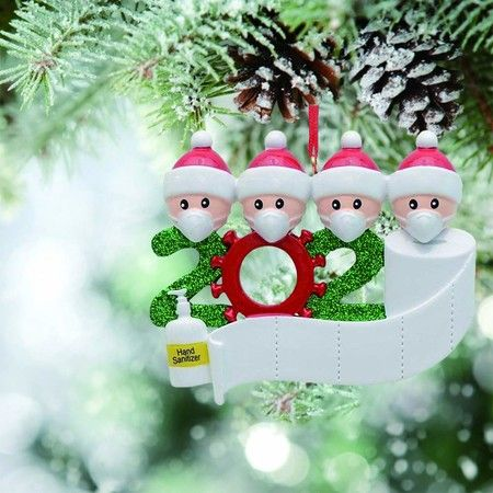 2020 Christmas Tree Hanging Ornament Kit Personalized 4 Family Members Names Decoration