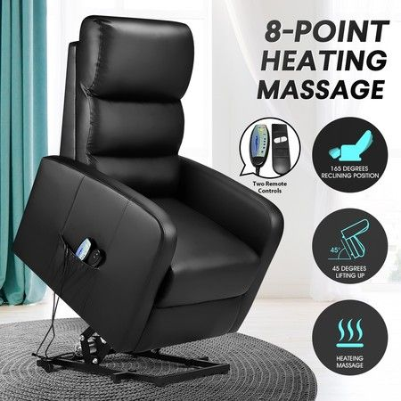 Luxury PU Leather Massage Chair Electric Recliner Sofa Couch Armchair OKIN Lift Motor