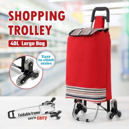 Multi Terrain Aluminium Shopping Trolley Foldable Cart Waterproof Nylon Bag Tri-Wheel Red