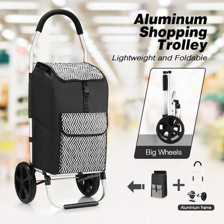 Foldable Aluminium Shopping Trolley with Bags Dolly Grocery Cart on Wheels Black