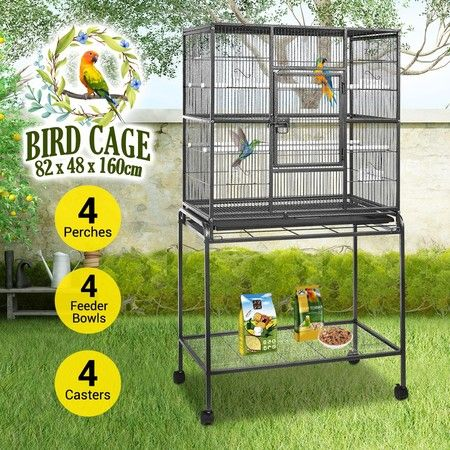 Petscene Wrought Iron Flight Bird Cage Large Size Wheeled Parrot Aviary Stand