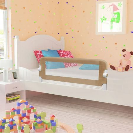 Toddler Safety Bed Rail Taupe 102x42 cm Polyester