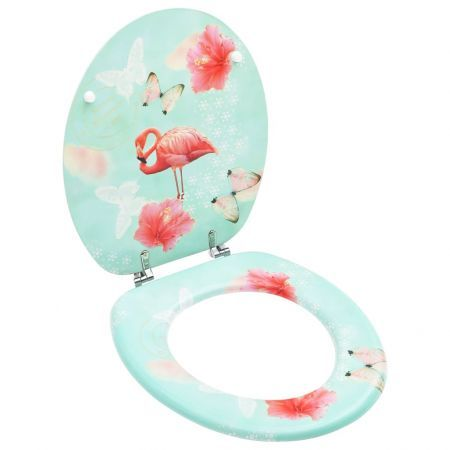 WC Toilet Seat with Lid MDF Flamingo Design