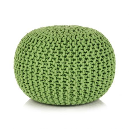 Hand-Knitted Pouffe Cotton 50x35 cm Green