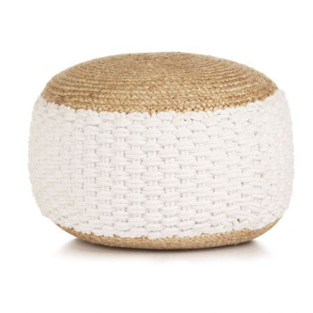 Woven/Knitted Pouffe Jute Cotton 50x35 cm White