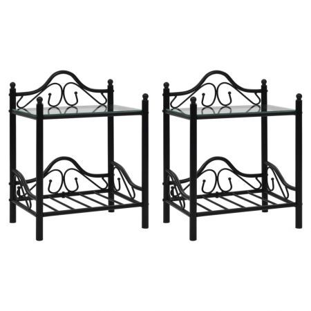 Bedside Tables 2 pcs Steel and Tempered Glass 45x30,5x60 cm Black