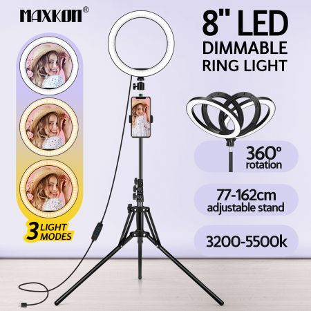 8 Inch LED Ring Light Selfie Ring Light with Tripod Stand for Live Video Photography