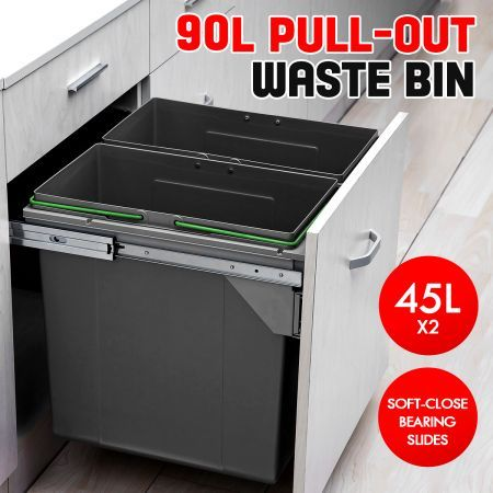 90L Pull Out Kitchen Bin Under Sink Dual Bins Cupboard Waste Recycling Bin