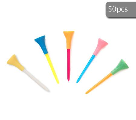 50 Pieces 8.5cm Multi-colored Unbreakable Rubber Top Oversized Golf Tees