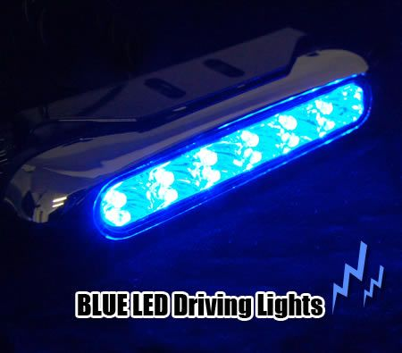 2 x LED Car Truck Universal Day Driving Lamps Fog Aux Bright BLUE Lights DC12V