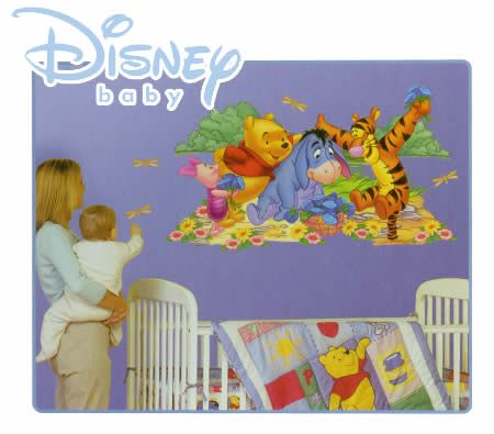Disney baby winnie the pooh reusable and removable wall for Baby pooh and friends wall mural