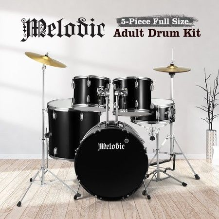 Melodic Full Size 5 Piece Drum Kit for Adult Junior Teen w/ Cymbals Pedal Stool
