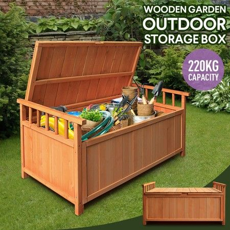 Waterproof Outdoor Storage Box Wooden, Outdoor Wooden Storage Box Waterproof
