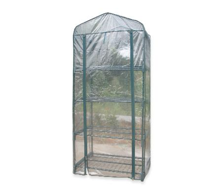 Tall Apex Roof 4 Tier Garden Greenhouse Shed with Cover and Roll-Up Flap - Transparent