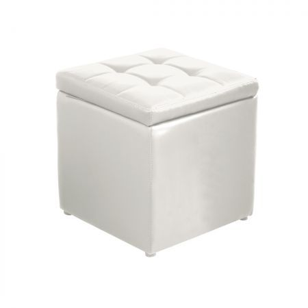 Levece PU Leather Cube Ottoman Box Hinge Top Seat Lounge Footstools Rest Storage