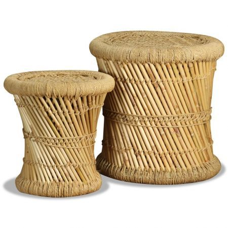 Stools 2 pcs Bamboo and Jute