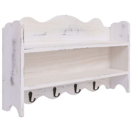 Wall Mounted Coat Rack White 50x10x30 cm Wood