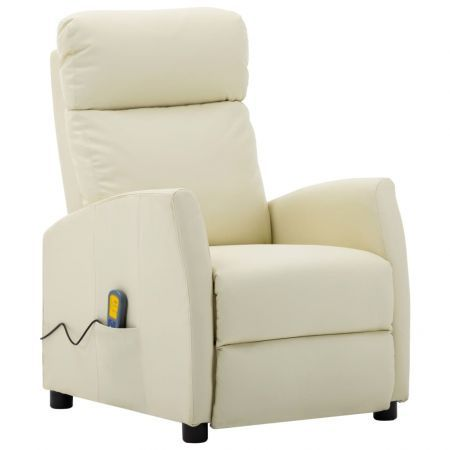 Massage Reclining Chair Cream Faux Leather