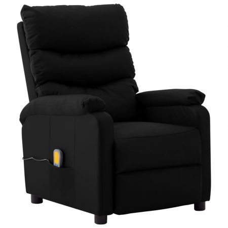 Massage Reclining Chair Black Faux Leather
