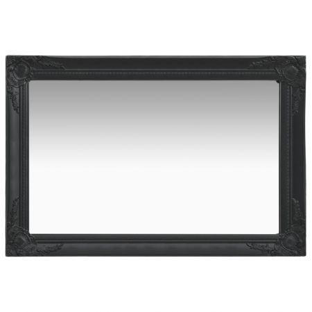 Wall Mirror Baroque Style 60x40 cm Black