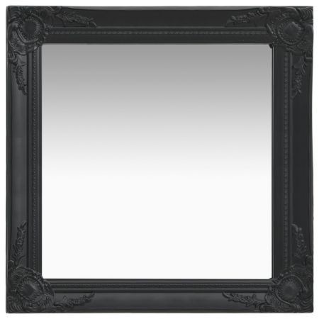 Wall Mirror Baroque Style 60x60 cm Black