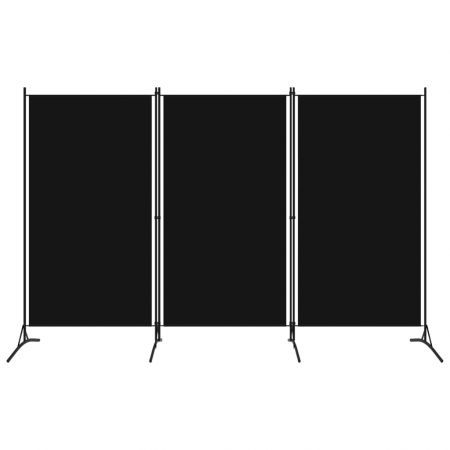 3-Panel Room Divider Black 260x180 cm