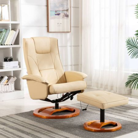 Massage Chair with Footstool Cream Faux Leather