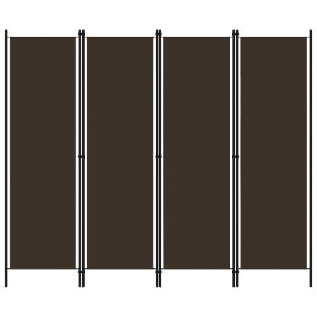 4-Panel Room Divider Brown 200x180 cm