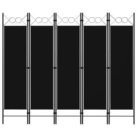 5-Panel Room Divider Black 200x180 cm