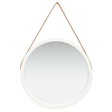 Wall Mirror with Strap 60 cm White