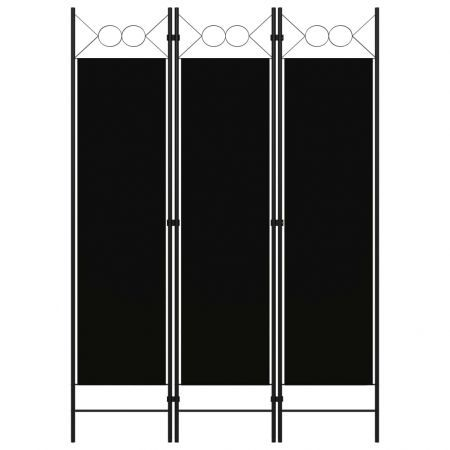 3-Panel Room Divider Black 120x180 cm