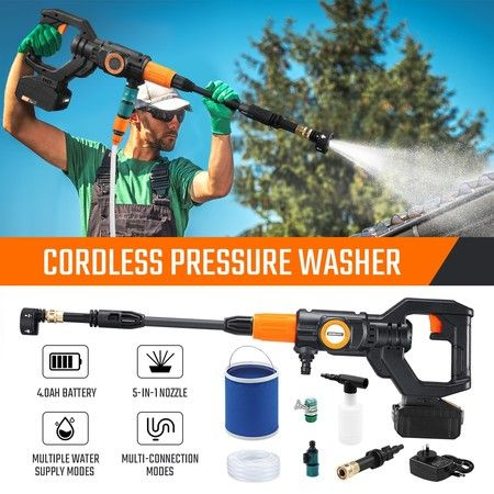 20V 4Ah Cordless High Pressure Washer Portable 20V Electric Cleaner Spray Gun