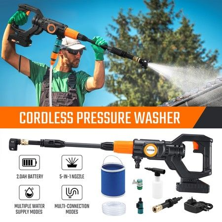 20V 2Ah Cordless High Pressure Washer Portable Electric Cleaner Spray Gun