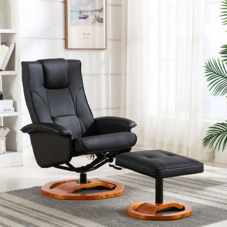 Massage Chair with Footstool Black Faux Leather