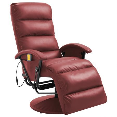 TV Massage Recliner Wine Red Faux Leather
