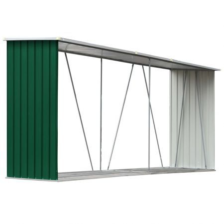 Garden Log Storage Shed Galvanised Steel 330x84x152 cm Green