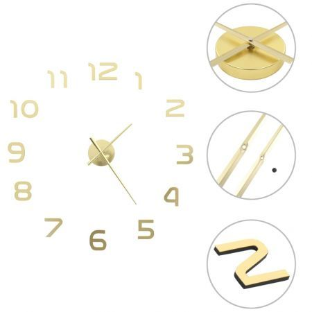 3D Wall Clock Modern Design 100 cm XXL Gold