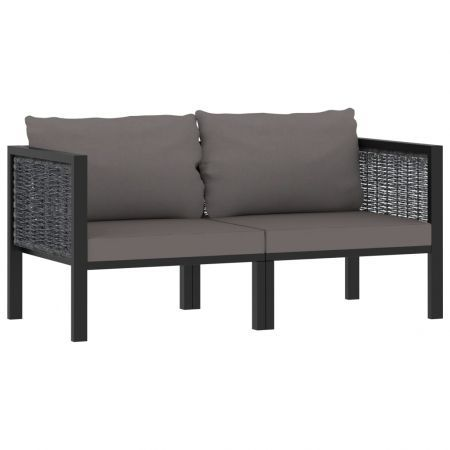2-Seater Sofa with Cushions Anthracite Poly Rattan