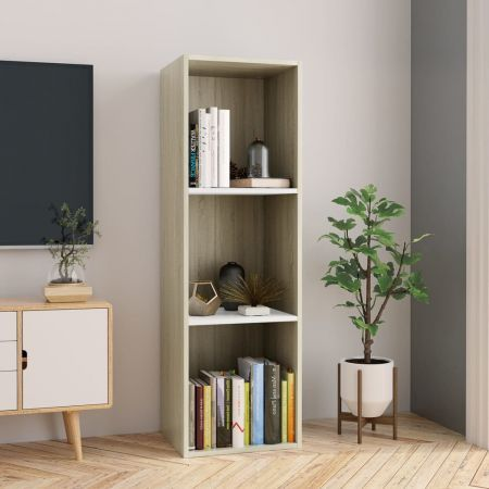 Book Cabinet/TV Cabinet White and Sonoma Oak 36x30x114 cm