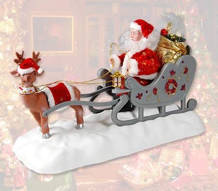Christmas Santa Clause with Reindeer Sleigh - Animated Xmas Musical Decoration Moving Display Ornament