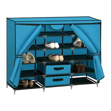Shoe Rack DIY Portable Storage Cabinet Organiser Stackable Shelf Organizer Blue