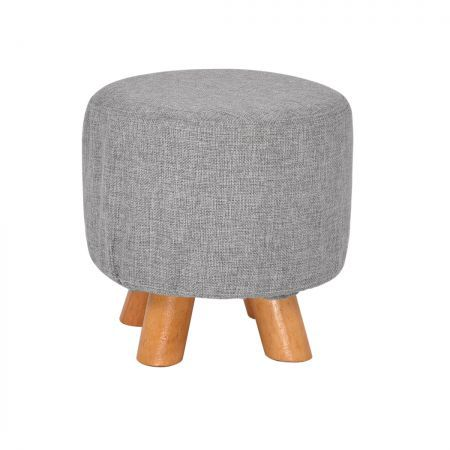 Luxury Chic Fabric Ottoman Foot Stool Rest Pouffe Footstool Padded Seat Wood