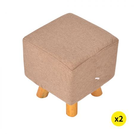 2x Luxury Chic Fabric Ottoman Foot Stool Rest Pouffe Footstool Padded Seat Wood